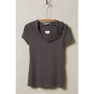 Anthropologie Deletta Blossom Smocked Cowl Tee